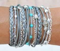 INFINITY Hope Bracelet - Adjustable Silver Stackable Studs Faux Suede Cord Boho Bangle Charm Bracelet - Instant Ship - By Alex and Renee USA