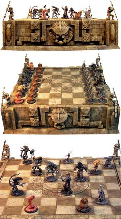 Alien vs Predator Chess set - One the best cheesey monster movies Predator Games, Alien Vs Predator, Predator Art, Aliens Meme, Pvc Pipe Projects, Welding Projects, How To Play Chess, Wood Router, Wood Lathe