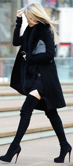 Street style fur scarf, black coat and over the knee boots | Latest fashion trends