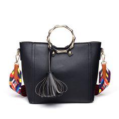 ICEV New Fashion Tassel Women Leather Handbags Korean Type Ribbon Bucket  Top Handle Bags Handbags Women Famous Brands Bolsa Sac 9c2ba42d12