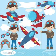 BUY 20 GET 10 OFF airplane pilot clipart commercial use, vector graphics, digital clip art, digital images - Airplane Pilot, Image Paper, Cute Clipart, 2nd Birthday Parties, Digital Stamps, Illustrations, Vector Graphics, Digital Image, Party Themes