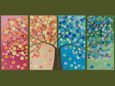 """Made To Order - Original Modern Abstract Heavy Texture Impasto  Painting Landscape Tree Wall Decor """"365 Days of Happiness"""" By qiqigallery. $365.00, via Etsy."""