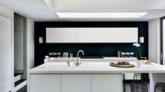 White Modern Kitchen with Dark Feature Wall