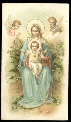 OLD HOLY CARD OF ST MARY AND JESUS