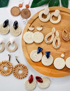 AENSOA Multiple 2019 Korea Handmade Bamboo Braid Pendent Drop Earrings New Fashion Rattan Vine Knit Long Earrings For Women Girl Bar Stud Earrings, Circle Earrings, Wooden Earrings, Sterling Silver Earrings Studs, New Fashion Earrings, Fashion Jewelry, Multiple Earrings, Style Boho, Boho Chic