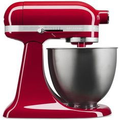 KitchenAid KSM3311X 3.5 Quart Artisan Mini Stand Mixer ($330) ❤ liked on Polyvore featuring home, kitchen & dining, empire red and kitchenaid