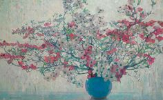 Jane Peterson (USA 1876-1965) White and Pink Dogwoodoil on canvas 106.7 x 172.7 cm
