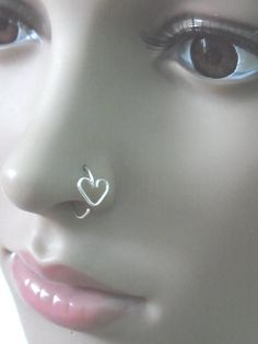 Heart Silver Nose Hoop -- Don't have a nose piercing but if I did, I'd be sporting this look!
