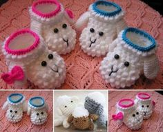 Crochet Baby Shoes Lamb Booties Crochet Pattern - You will love this Lamb Booties Crochet Pattern and the gorgeous bobble effect is super cute. They would make the perfect gift for a newborn. Crochet Baby Clothes, Crochet Baby Shoes, Cute Crochet, Crochet For Kids, Crochet Crafts, Crochet Projects, Crochet Converse, Easter Crochet, Vintage Crochet