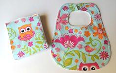 Bib and Burp Cloth Set  Pink Owl Bib and by charlottechicstore, $15.00
