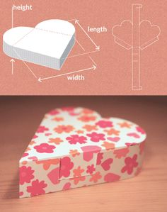 Image showing preview of template, dimensions and result for a Heart Shaped Box TEMPLATE MAKER!!!!