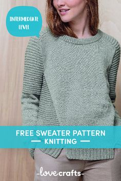 Free Sweater Knitting Pattern Lou Sweater in Phildar Merino . Jumper Knitting Pattern, Jumper Patterns, Knit Patterns, Knitting Sweaters, Free Knitting Patterns For Women, Knitting Designs, Knitting Tutorials, Knitting Projects, Textiles