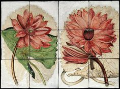 Dettaglio articolo 10617 botanical tiles - stand Recuperando #recuperando - available on recuperando.com Botanical Art, Dahlia, Maya, Tiles, Vegetables, Drawings, Flowers, Red, Handmade