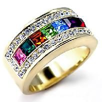 Multi Swarovski Crystals Beautiful Band Ring Sz 6 All the colors of the Rainbow. It goes w/everything