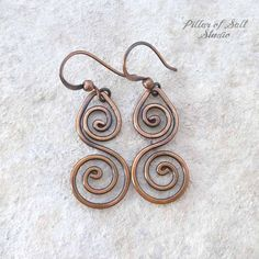 Solid copper earrings / Wire wrapped earrings / wire wrapped #Cuff&WrapEarrings