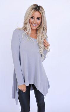 Scoop Tunic- Grey - Dottie Couture Boutique