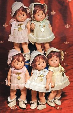 SET OF DIONNE QUINTUPLET TODDLERS.  Marks:  Alexan