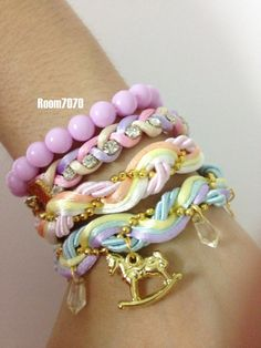 pastel braid bracelets set rhinestones bracelet charm by room7070, $14.00