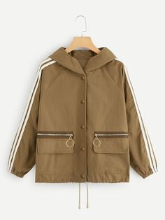 To find out about the Contrast Tape Side Drawstring Hem Hooded Jacket at SHEIN, part of our latest Jackets ready to shop online today! Teen Fashion Outfits, Casual Outfits, Cute Outfits, Blazer Jacket, Hooded Jacket, Mode Hijab, Striped Fabrics, Jackets Online, Hoods