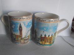 LONDON LANDMARKS Vintage Cofee Mug Tea Cup Arthur Wood Travel England Art, set of 2 by tjmccarty on Etsy