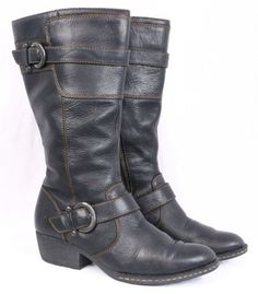 67cc46bb753 BORN McCarty Black Leather Buckle Mid Calf Partial Zip up Riding Boots  Women 8 #Born
