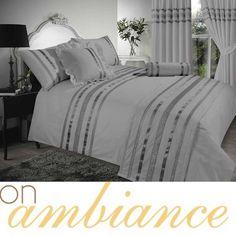 Grey Silver Colour Stylish Lace Diamante Duvet Cover Luxury Beautiful Bedding   eBay