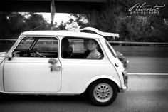 Vintage Mini Cooper as getaway car