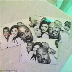 Photobooth fun: The recently-turned 18-year-old reality star was joined by her rapper boyfriend Tyga, sister Kim Kardashian and an unusually cheery Kanye West