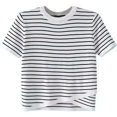 White Striped Wrap Front Asymmetric Ribbed Knit Sweater (£21) ❤ liked on Polyvore featuring tops, sweaters, stripe sweaters, stripe top, white collar top, asymmetric top and round top