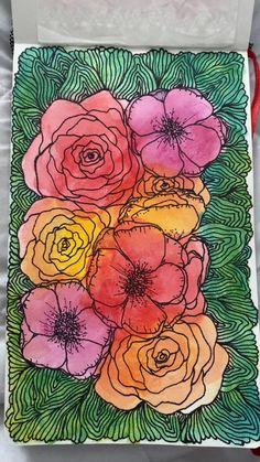 Watercolor Paintings For Beginners, Simple Canvas Paintings, Diy Canvas Art, Acrylic Painting Canvas, Watercolor And Sharpie, Watercolor And Ink, Watercolor Flowers, Doodling Art, Sharpie Doodles