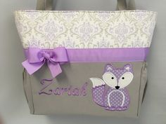 FOX in  Lavender ... DIAPER Bag .. Applique  ... Bottle Pockets ... Personalized Free by TweedleTotes on Etsy