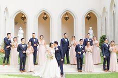 elegant chateau cocomar wedding full bridal party