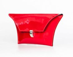 Small Glossy Red Clutch Purse