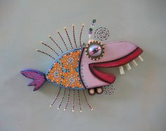 Twisted Snapper Original Found Object Wall Art by FigJamStudio