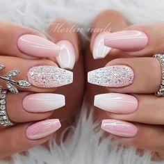 Bridesmaid Nails Acrylic, Bridesmaids Nails, Homecoming Nails, Prom Nails, Wedding Nails, Gorgeous Nails, Pretty Nails, Nail Art Instagram, Acrylic Nails Coffin Pink