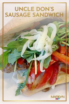 You don't need to know uncle Don to make this masterpiece! Sausage Sandwiches, Baby Arugula, Caprese Salad, Farmers Market, Tasty, Recipes, Ideas, Food, Essen