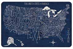 Home Accents US Blueprint Map 2' x 3' Accent Mat by Ashley HomeStore, Blue