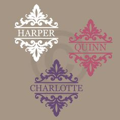 Shabby Chic damask MONOGRAM NAME wall decal, bedroom or baby girl nursery, vinyl lettering sticker (W00937). $19.99, via Etsy.