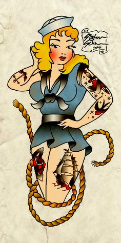 pin up with tatts / Sailor_Jerry_Tribute_by_siggystarfish.jpg (626×1259)