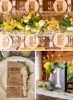 A rustic wedding table setting to die for!