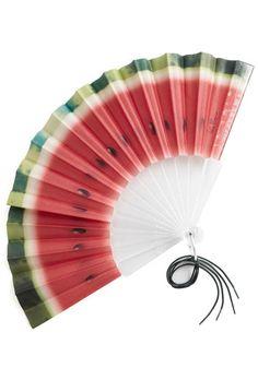In Refreshing Fashion Fan - Red, Green, Multi, Print, Fruits, Cotton, Summer, Tassles, Best