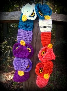 A fun and whimsical, yet still majestic design! Worked in one piece, this scarf can be made multi-colored or all one color for fun and versatility! Can be made as long or as short as you like! Crochet For Kids, Easy Crochet, Crochet Hats, Owl Scarf, Wooden Crochet Hooks, Owl Crochet Patterns, Owl Hat, Stuffed Animal Patterns, Crochet Accessories