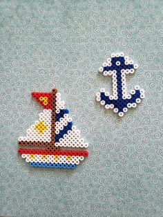 Nautical Themed Perler Bead Decoration - Nautical Themed Perler Bead Decoration by PerlerCreationsShop on Etsy - Perler Bead Designs, Perler Bead Templates, Hama Beads Design, Diy Perler Beads, Perler Bead Art, Pearler Beads, Perler Bead Disney, Melty Bead Patterns, Pearler Bead Patterns