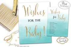 Wishes for The Baby are a great way to add that special touch to your baby shower. You can set them up next to the sign by the gift table so every guest can see them and fill them out with their wishes for the baby. All of them can be kept as keepsakes or added to the baby's scrapbook. INSTANT DOWNLOAD - wishes for the baby watercolor blue ombre with  gold glitter accents printable sign and cards - 0231. Find more coordinating printables at JanePaperie: https://www.etsy.com/shop/JanePaperie