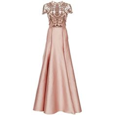 Marchesa Crystal Necklace Embroidered Duchess Satin Ball Gown ($7,995) ❤ liked on Polyvore featuring dresses, gowns, a line gown, beaded dress, pink a line dress, short sleeve dress and a line dress