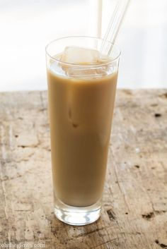 Homemade almond milk (it's crazy easy to make) is a tasty addition to iced coffee that has half the calories of regular milk and no cholesterol. Try making a big batch of coffee concentrate at the beginning of each week to cut down on your morning prep.   Get the recipe at Oh She Glows.   - Redbook.com