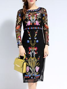 ff53d0a2448f5 Black Long Sleeve Backless Contrast Gauze Embroidered Dress pictures Dresses  For Work