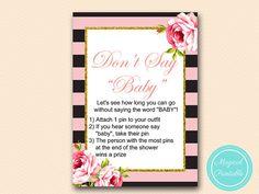 Don't Say Baby Clothespin Game Printable Girl by MagicalPrintable