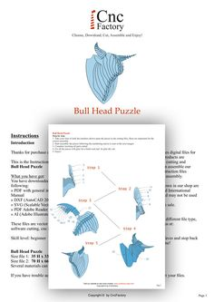 BULL HEAD PUZZLE  Template cutting file  bull skull  laser by CncFactory | Etsy