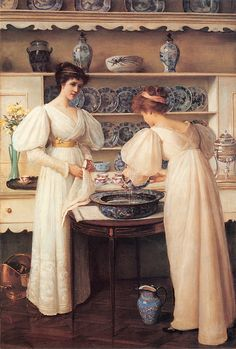 Making fun of Chinamania, a woman in aesthetic dress bathes her blue and white teapot. Blue and White (1896) by Louise Jopling (1843-1933).